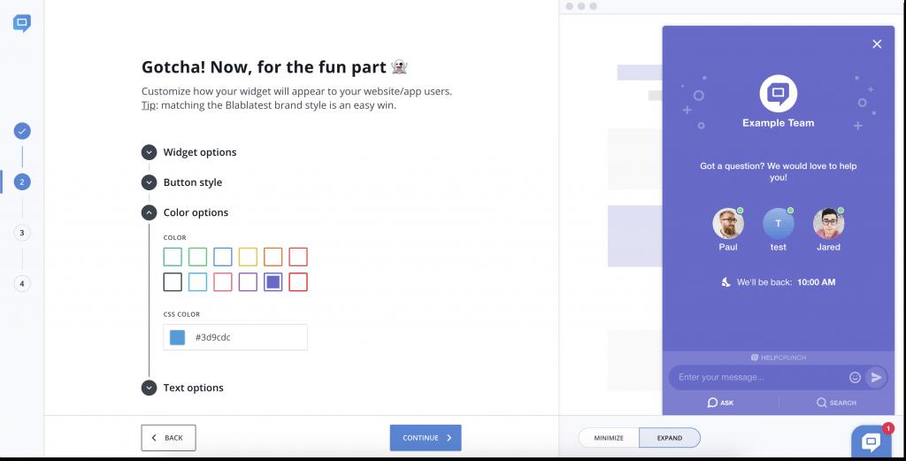 HelpCrunch live chat installation wizard