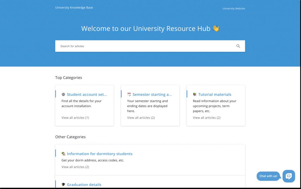 university knowledge base by helpcrunch