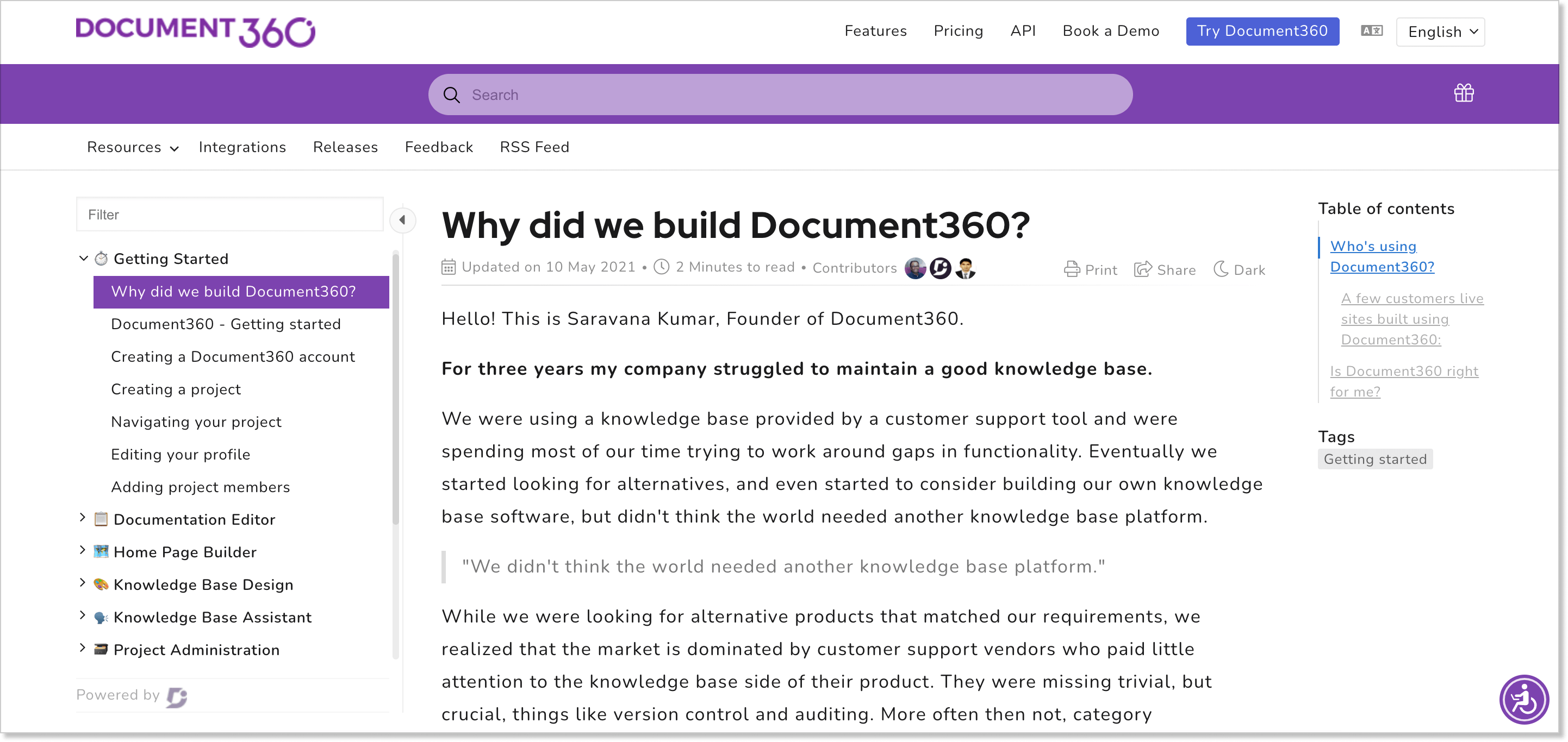 Document360 knowledge management software