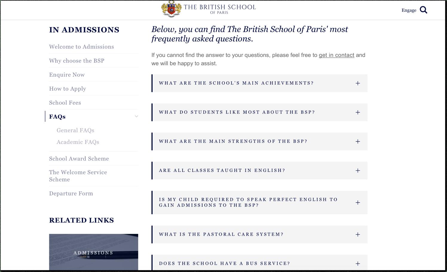 FAQ section at the British School of Paris website