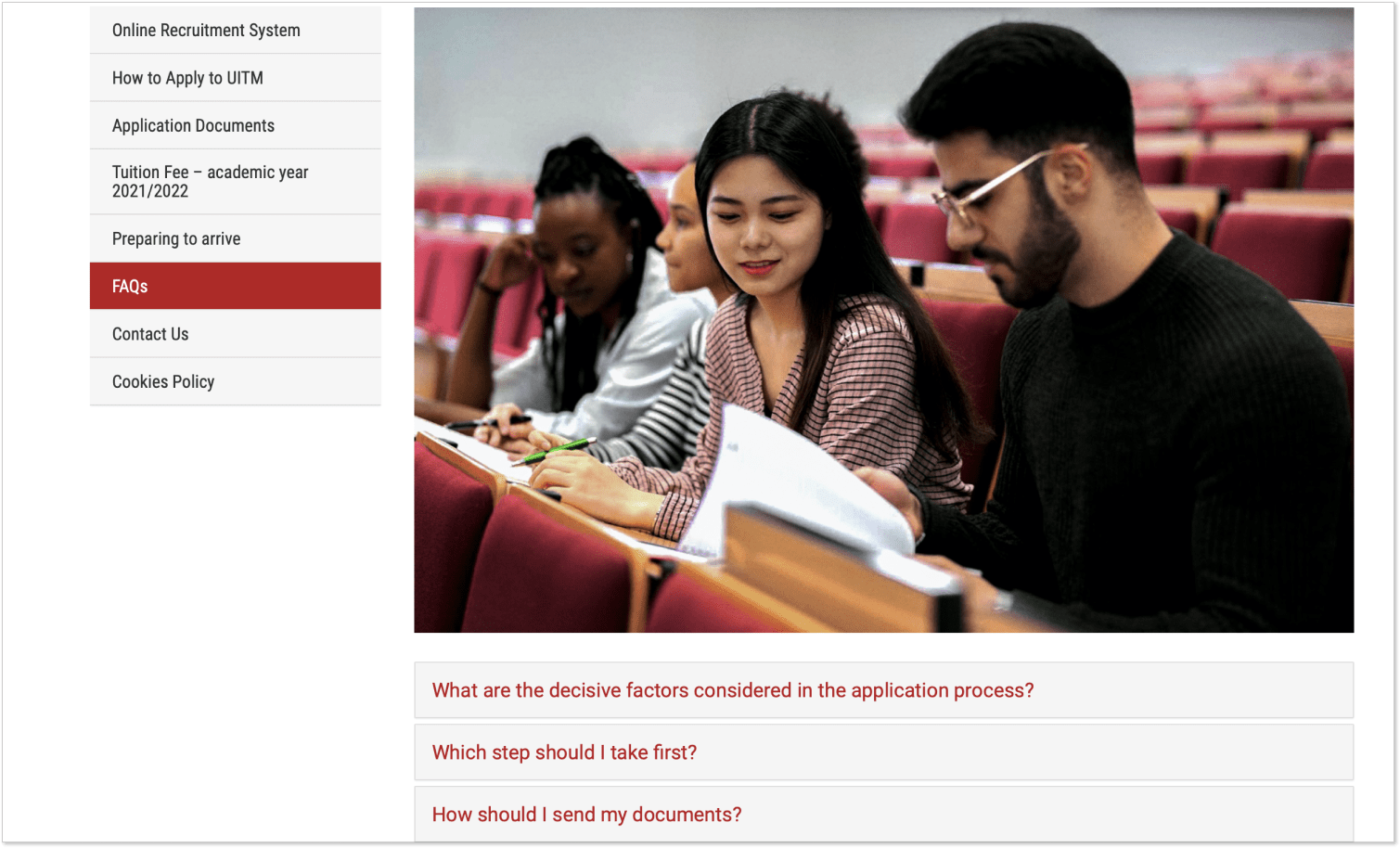 FAQ section at the UITM website