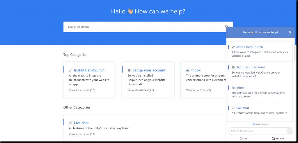 HelpCrunch knowledge management tool