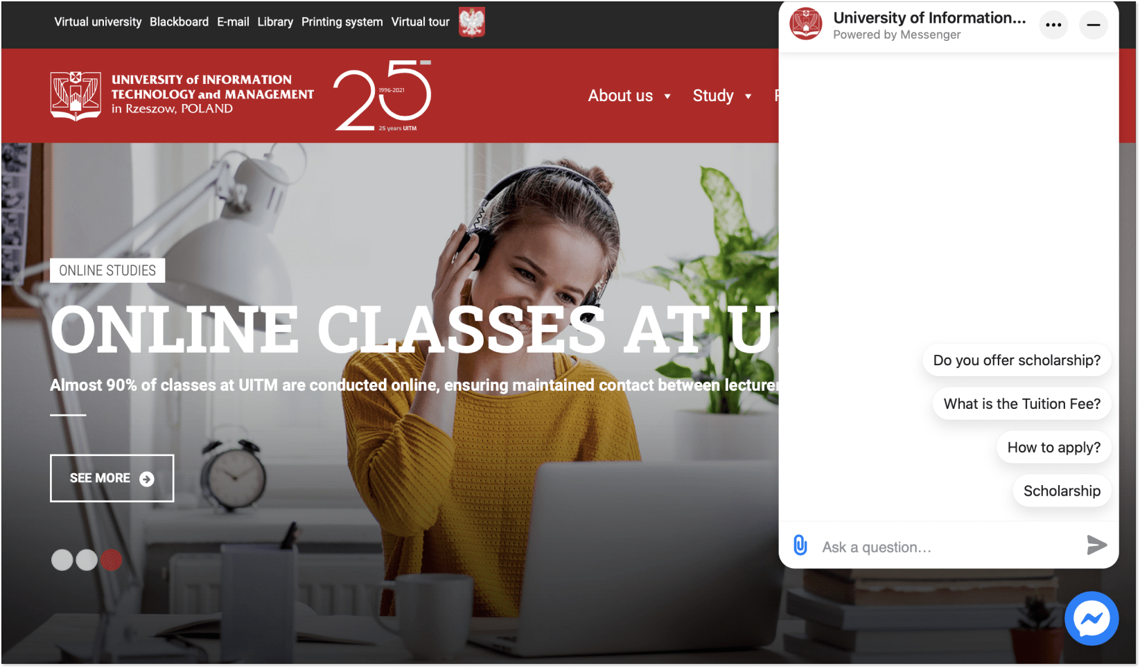 Live Messenger on the UITM landing page