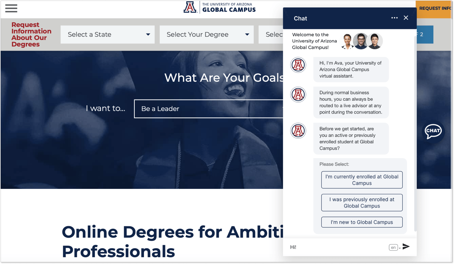 University of Arizona Global Campus page with live chat