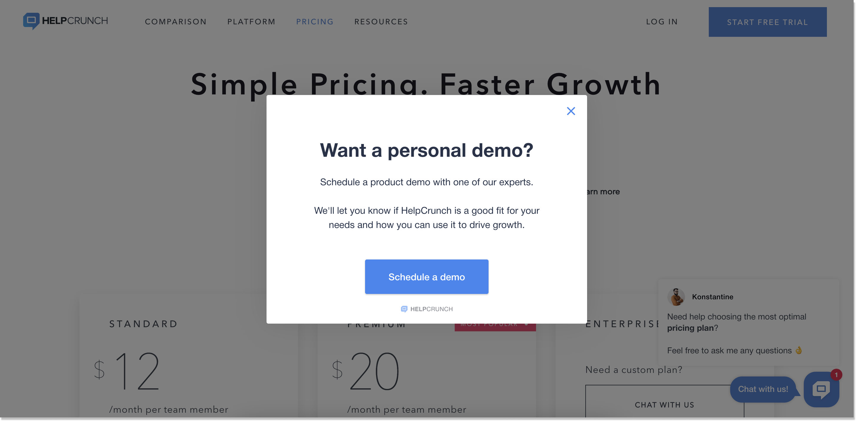 HelpCrunch pricing page popup