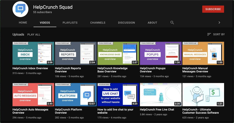 HelpCrunch Youtube channel