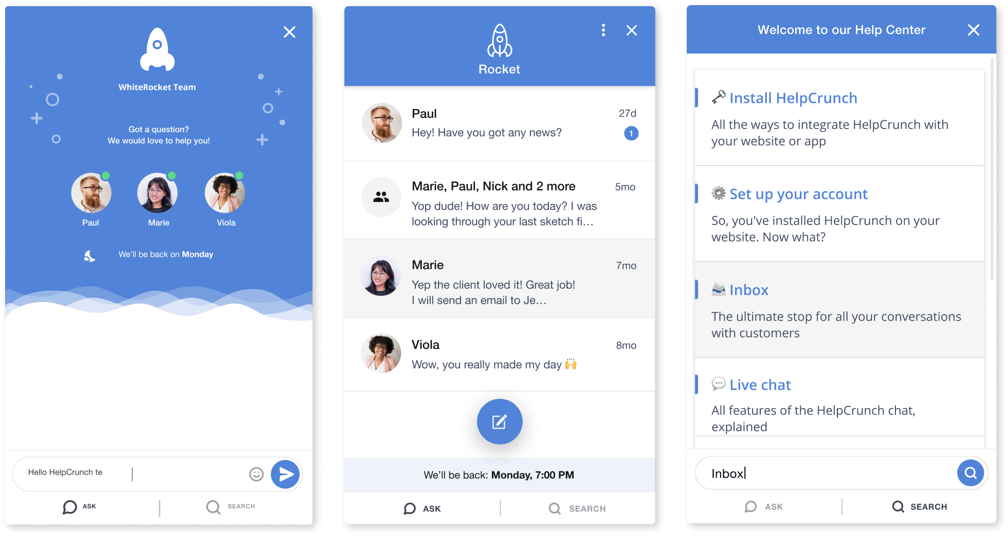 HelpCrunch chat widget for live chat support