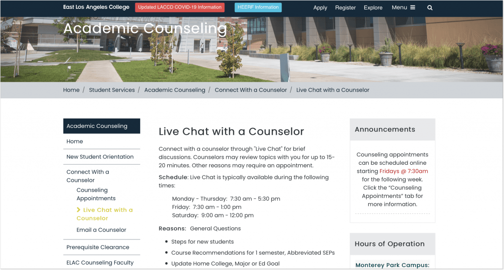 Live chat with a counseler_Easy Los Angeles College