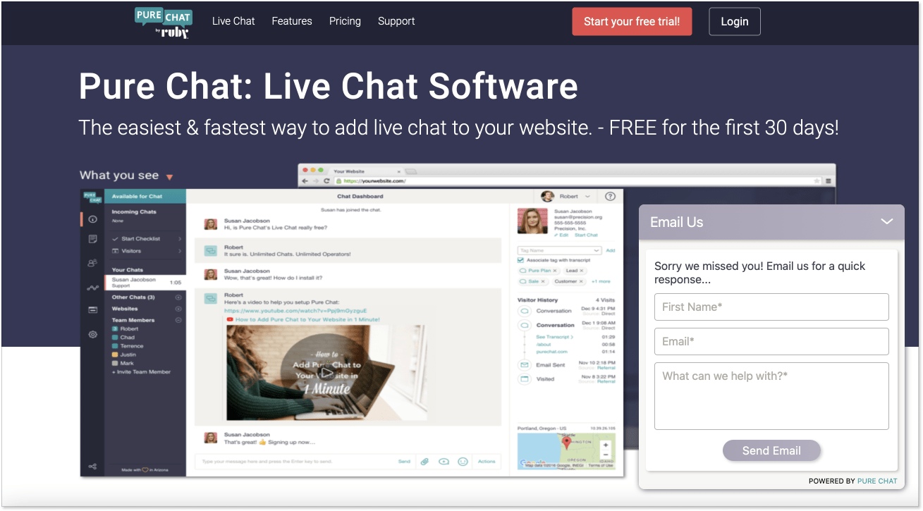 Pure Chat landing page