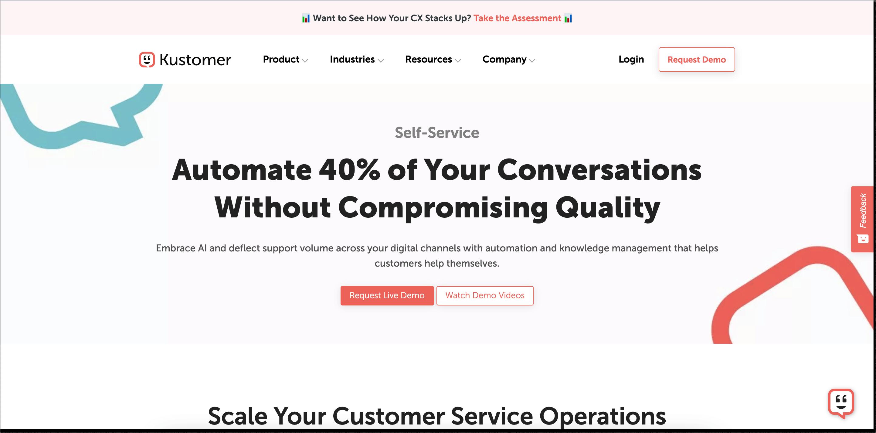 Kustomer self-service homepage