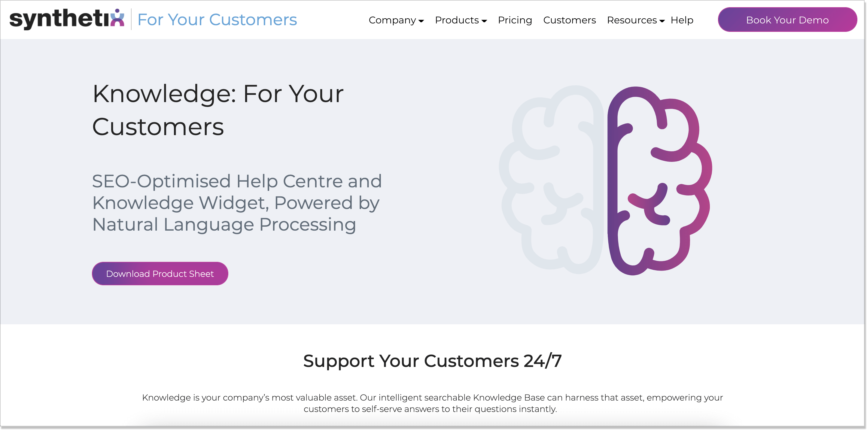 Synthetix self-service homepage