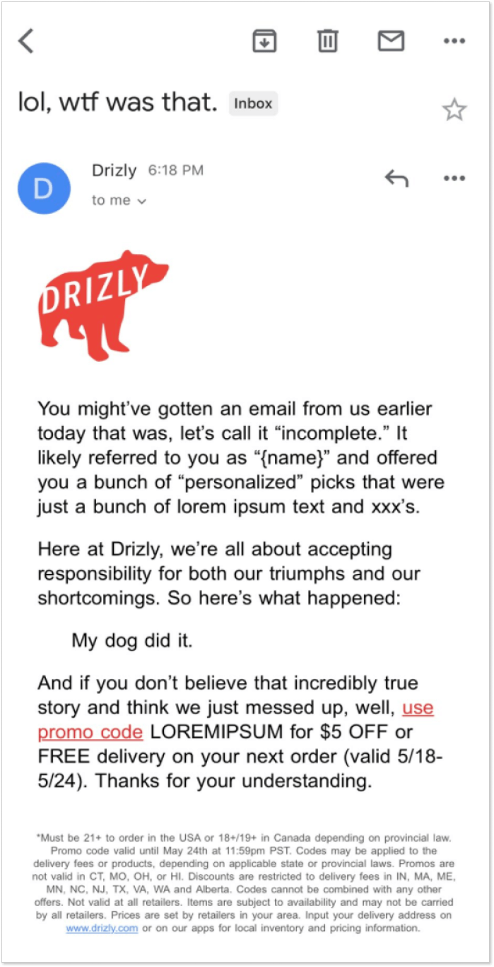 Drizly apology letter