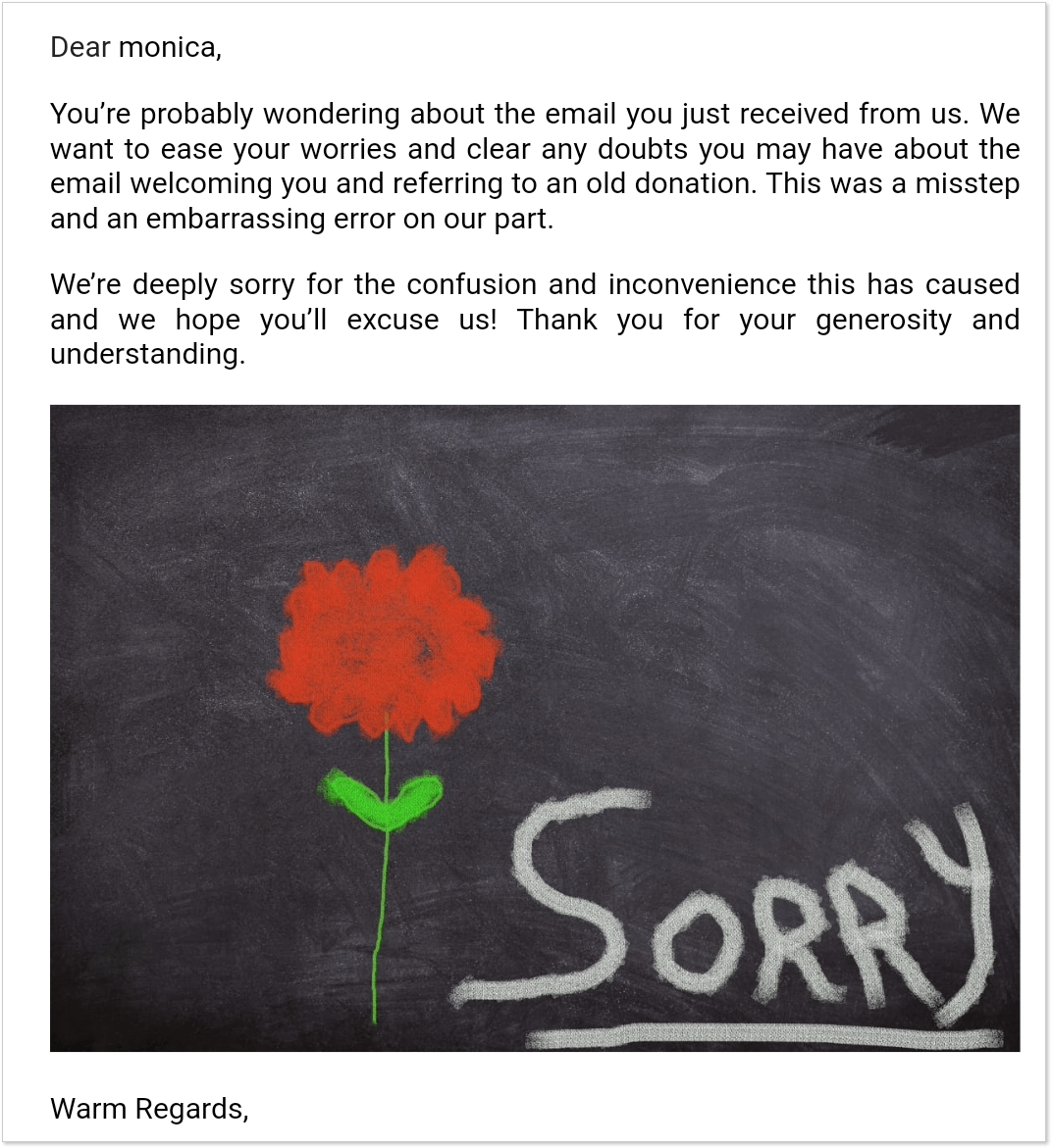 Greenpeace apology email