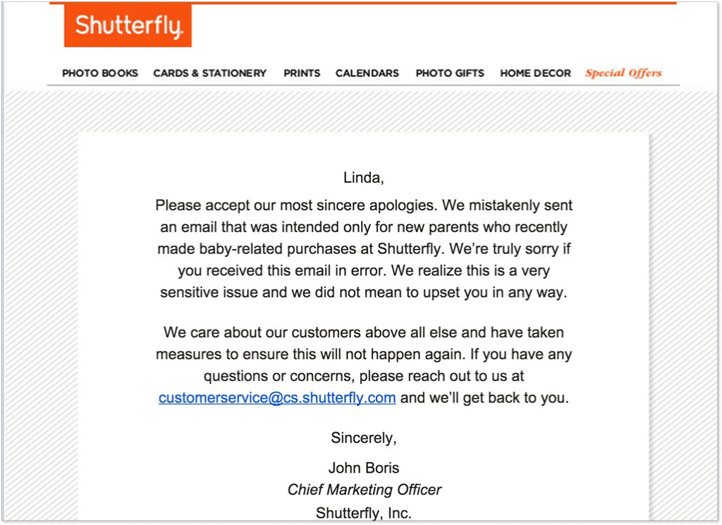 Shutterfly apology email