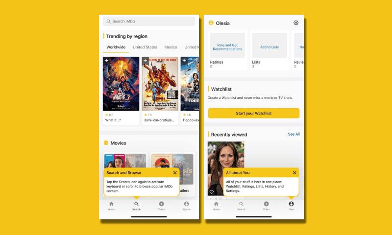 IMDb in-app messages