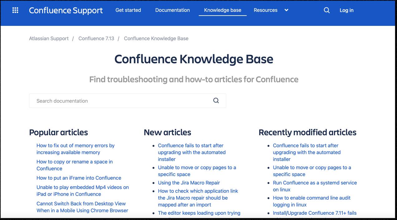 Confluence knowldge base