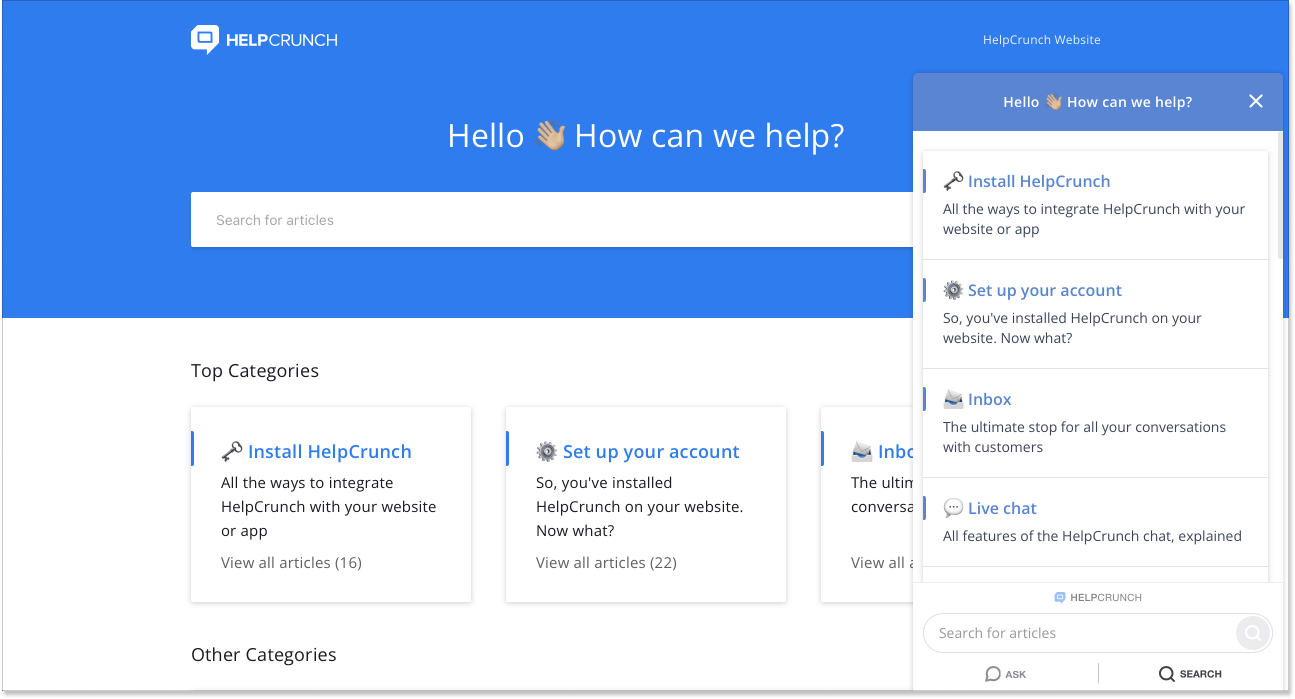 HelpCrunch Knowledge Base and widget