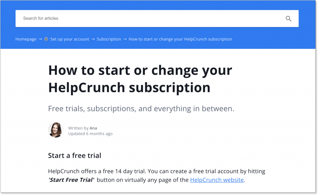 HelpCrunch is set up for knowledge base SEO with internal links in its help articles