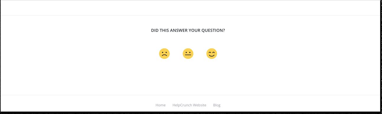 HelpCrunch survey at knowledge base