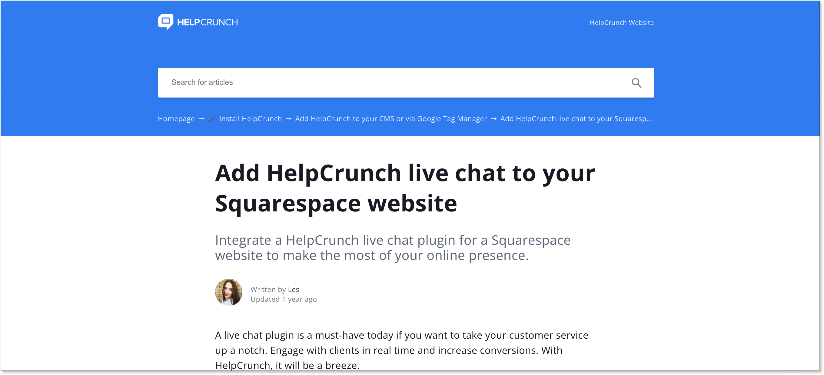 HelpCrunch's installation guide for Squarespace