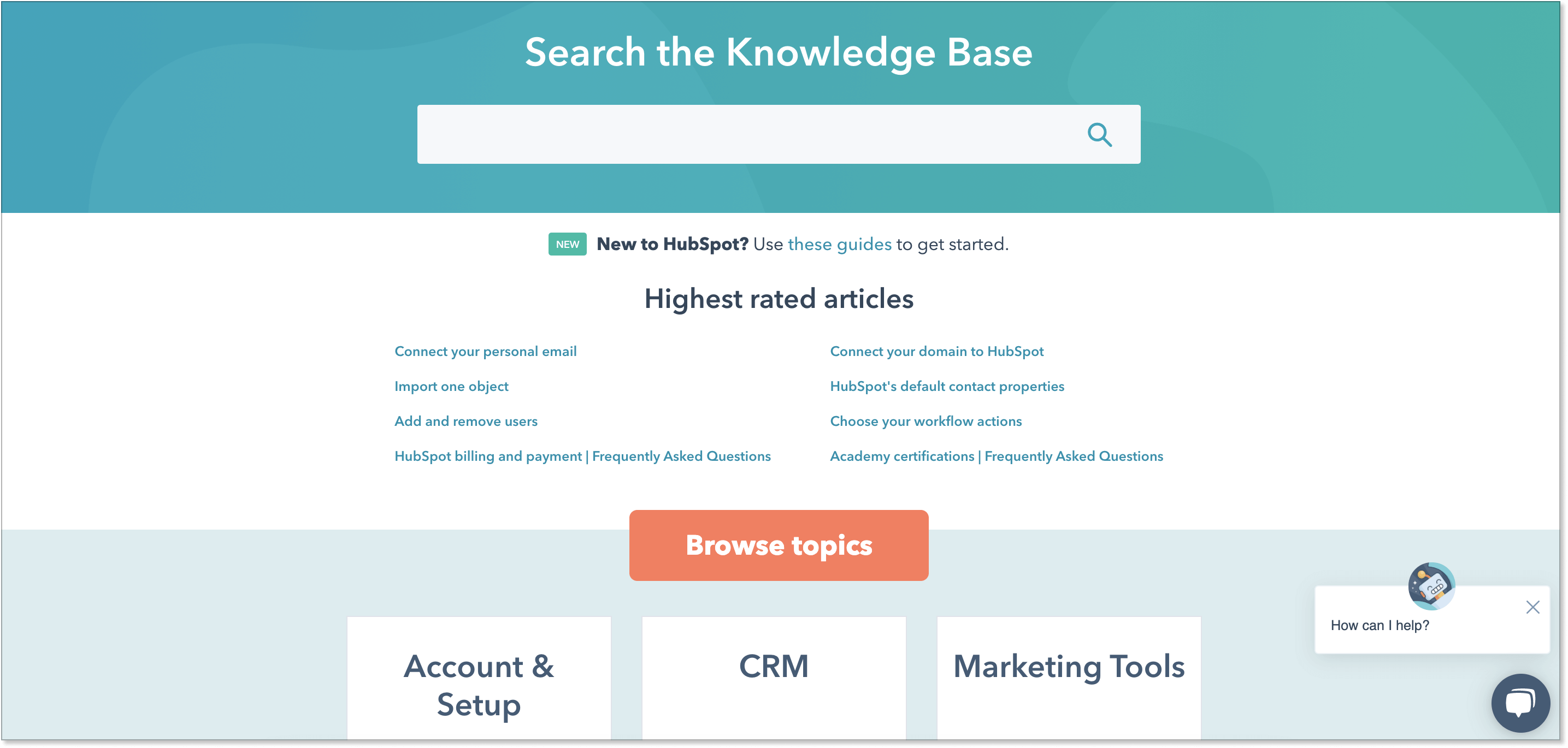 HubSpot's knowledge base