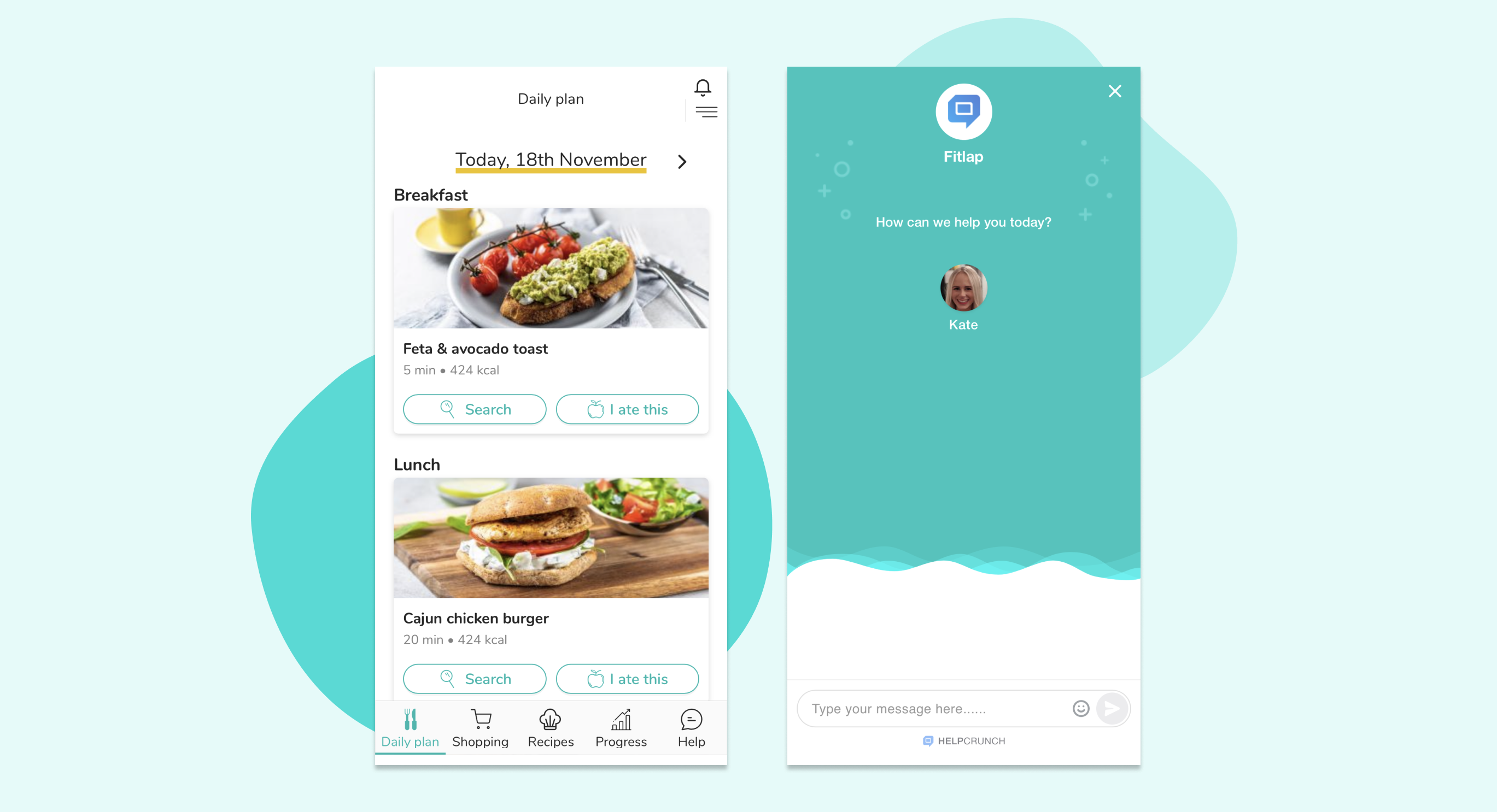 Fitlap mobile app with chat for case study by HelpCrunch