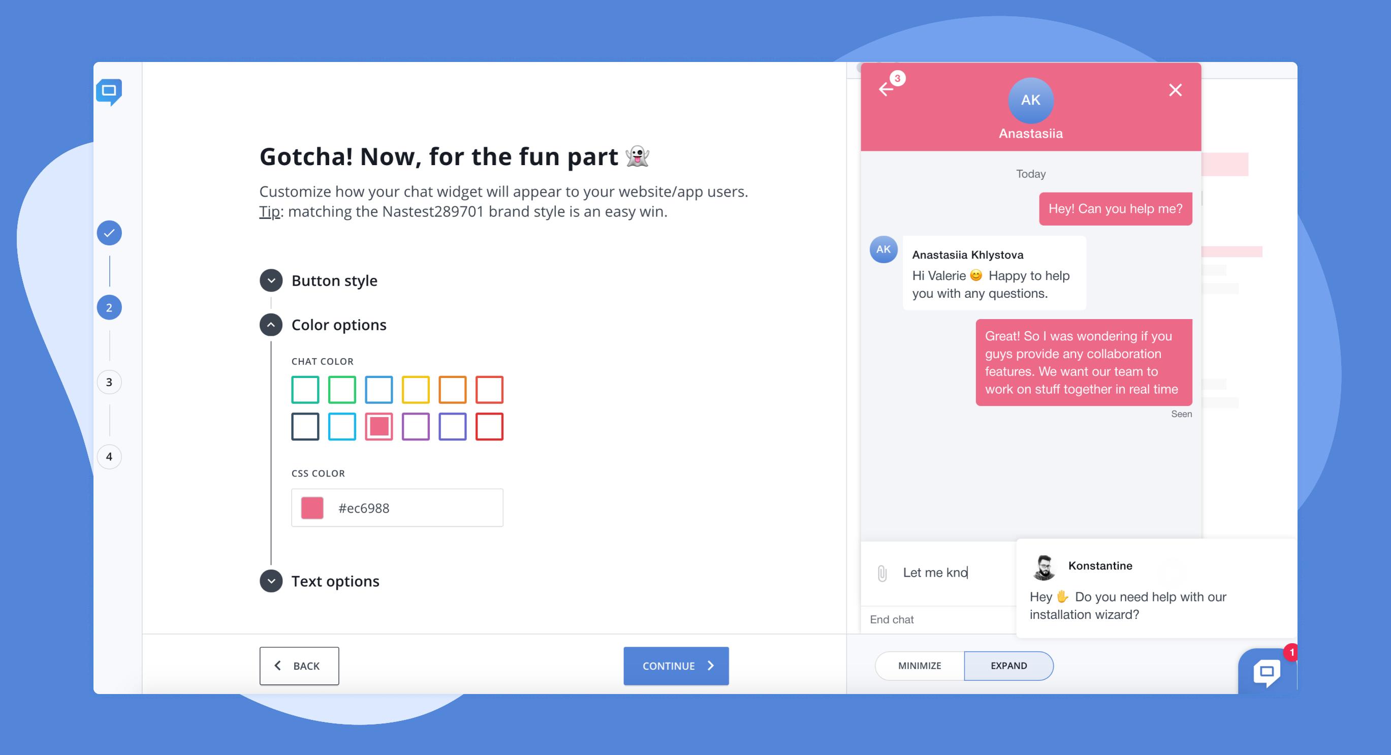 PR-dashboard chat customization for case study by HelpCrunch